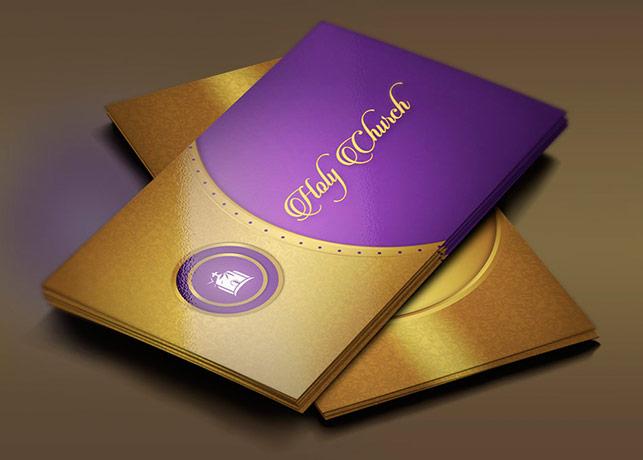 Gold Lavender Church Business Card