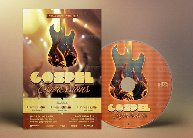 Gospel Expressions Church Flyer Ticket CD Template