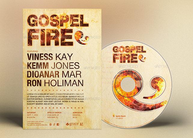 Gospel Fire Church Flyer Ticket CD Template