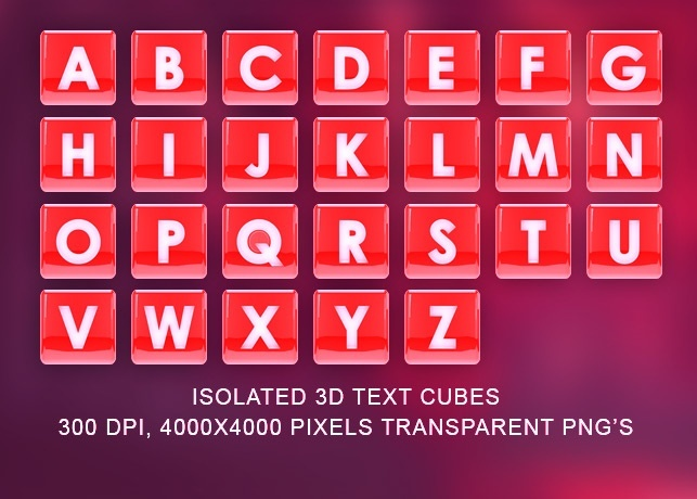 Isolated 3D Text Cubes