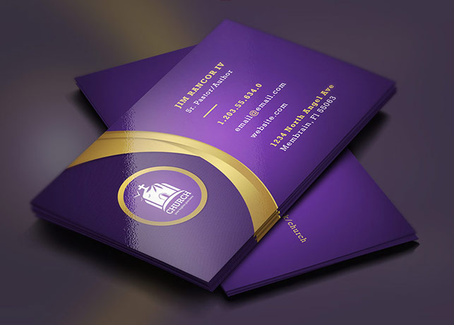 Lavender Gold Church Business Card Template