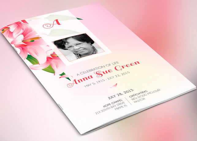 Petals Funeral Program Publisher Template