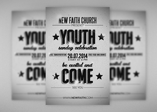retro youth church flyer template