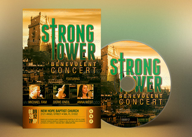 Strong Tower Church Flyer Poster CD Template