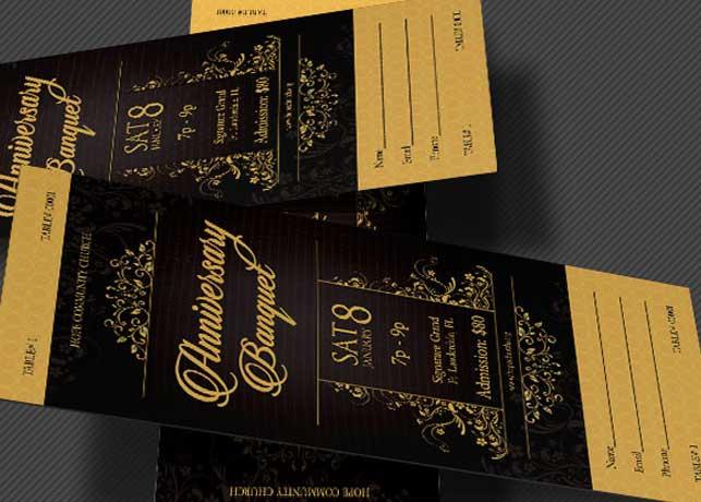 Golden Anniversary Banquet Ticket Template