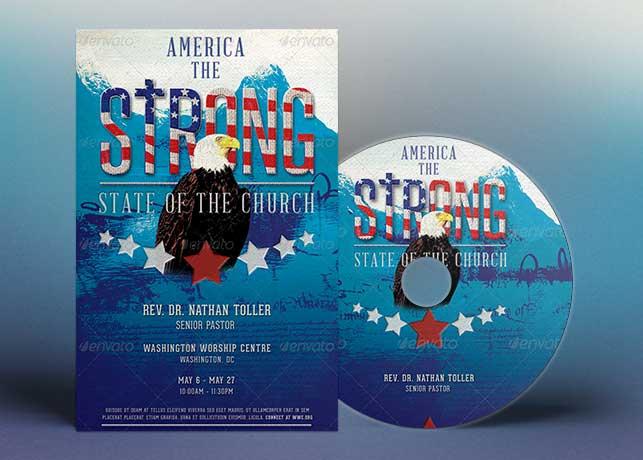 Strong America Church Flyer CD Template