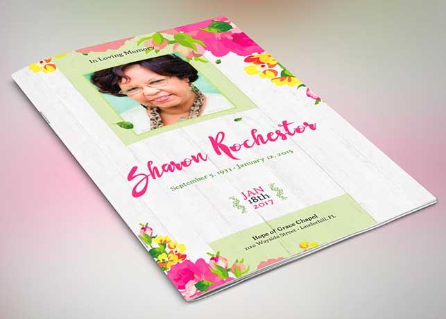 Floral Funeral Program Photoshop Template