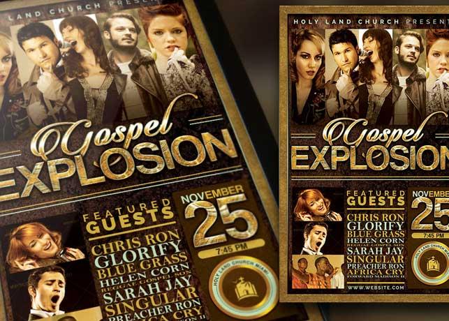 Gospel Explosion Church Concert Flyer plus Poster Template