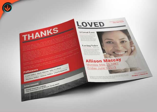 Newspaper Funeral Program Template