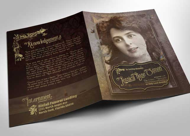 Victorian Style Funeral Program Template