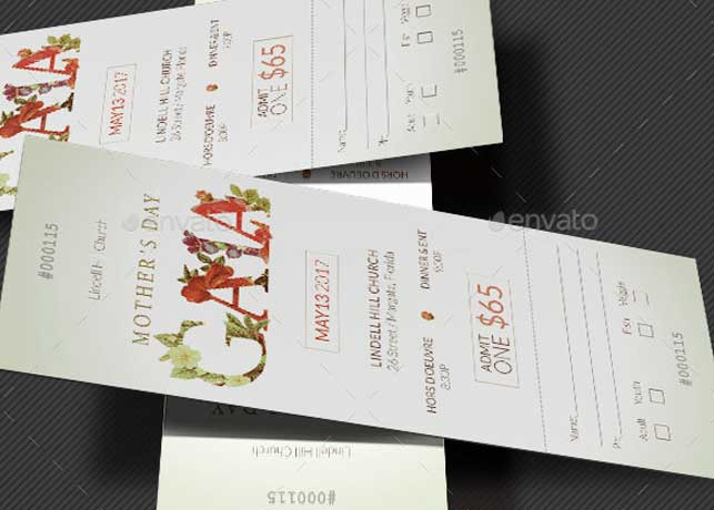 Mothers Gala Ticket Template