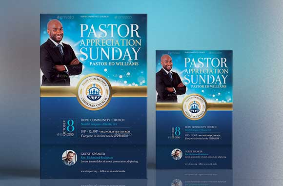 Blue Pastor Appreciation Flyer Poster Template