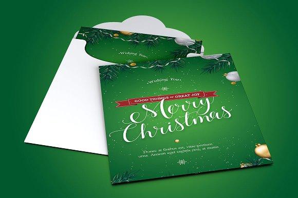 Green Christmas Greeting Postcard Template