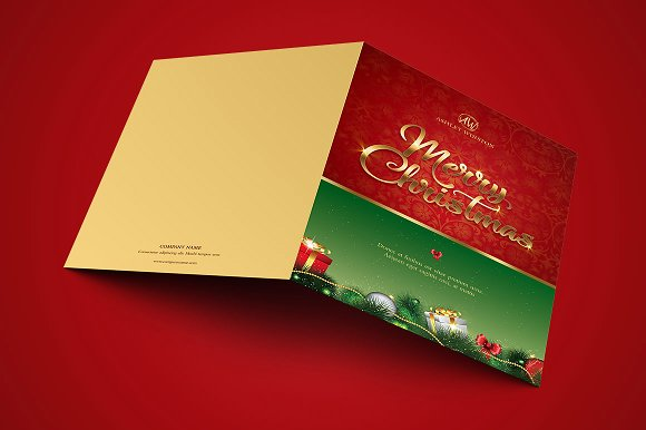 Red Green Christmas Greeting Card Template