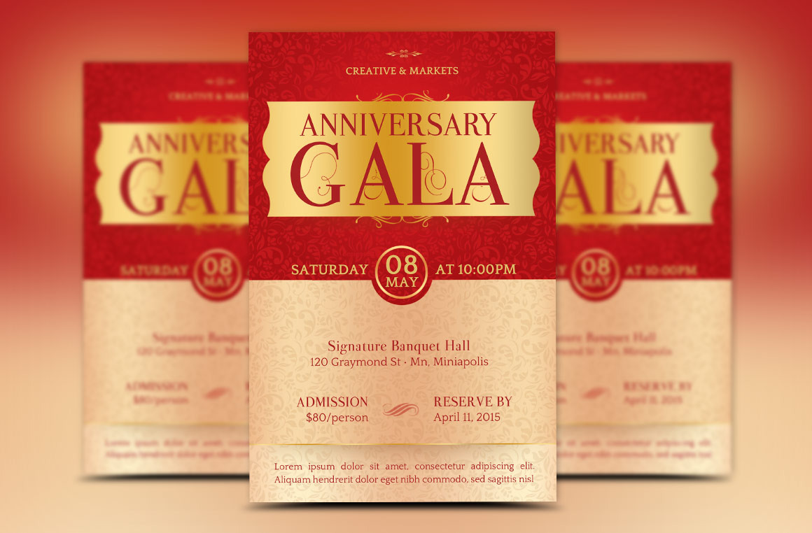 Anniversary Gala Flyer Publisher Template