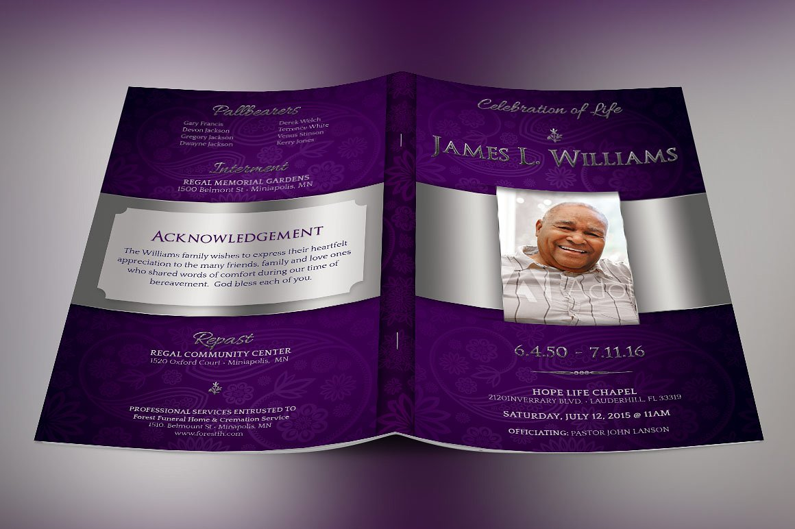 Lavender Dignity Funeral Program Template