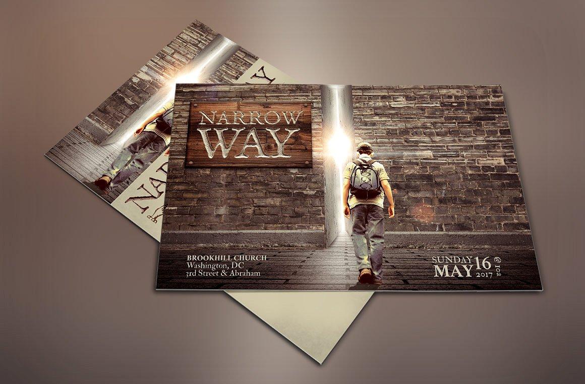 Narrow Way Church Flyer Poster Template