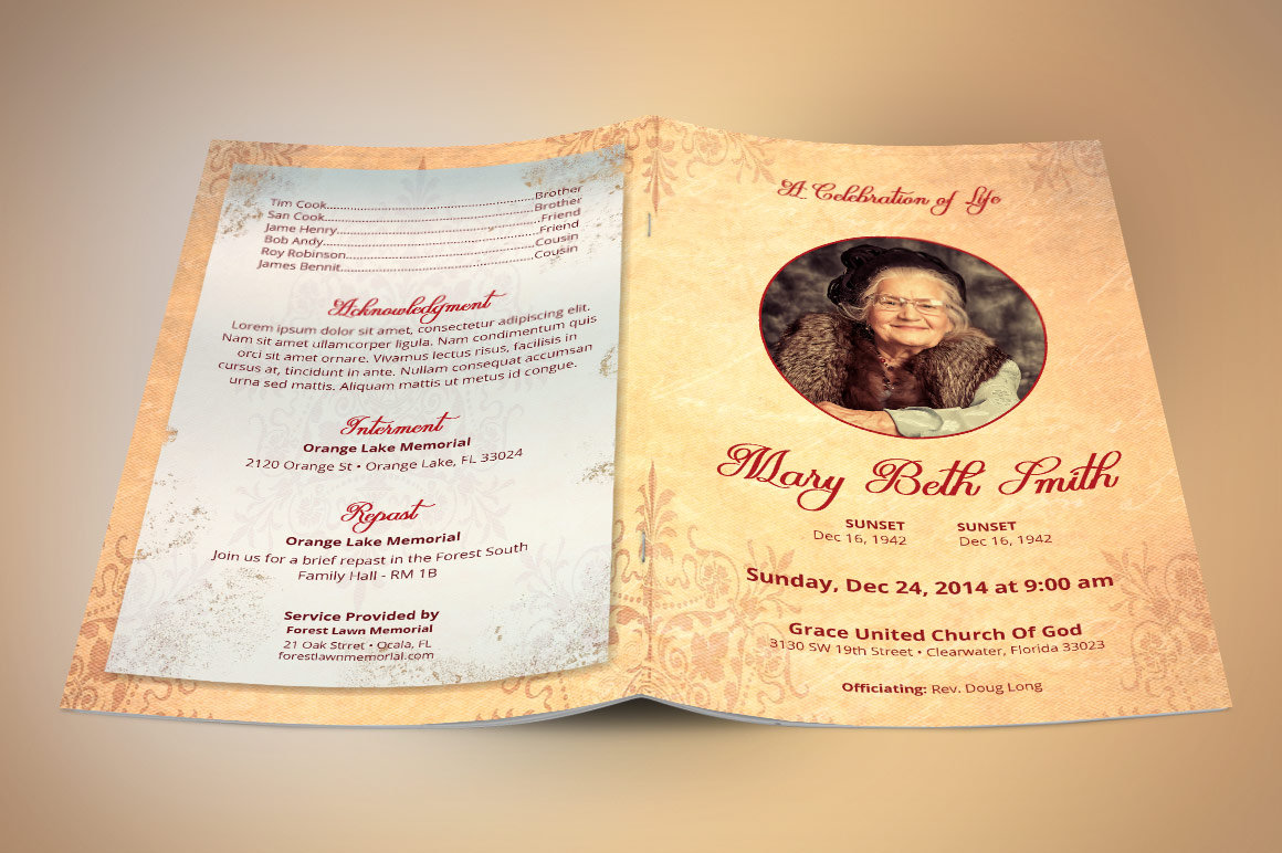 Victorian Funeral Program Publisher Template