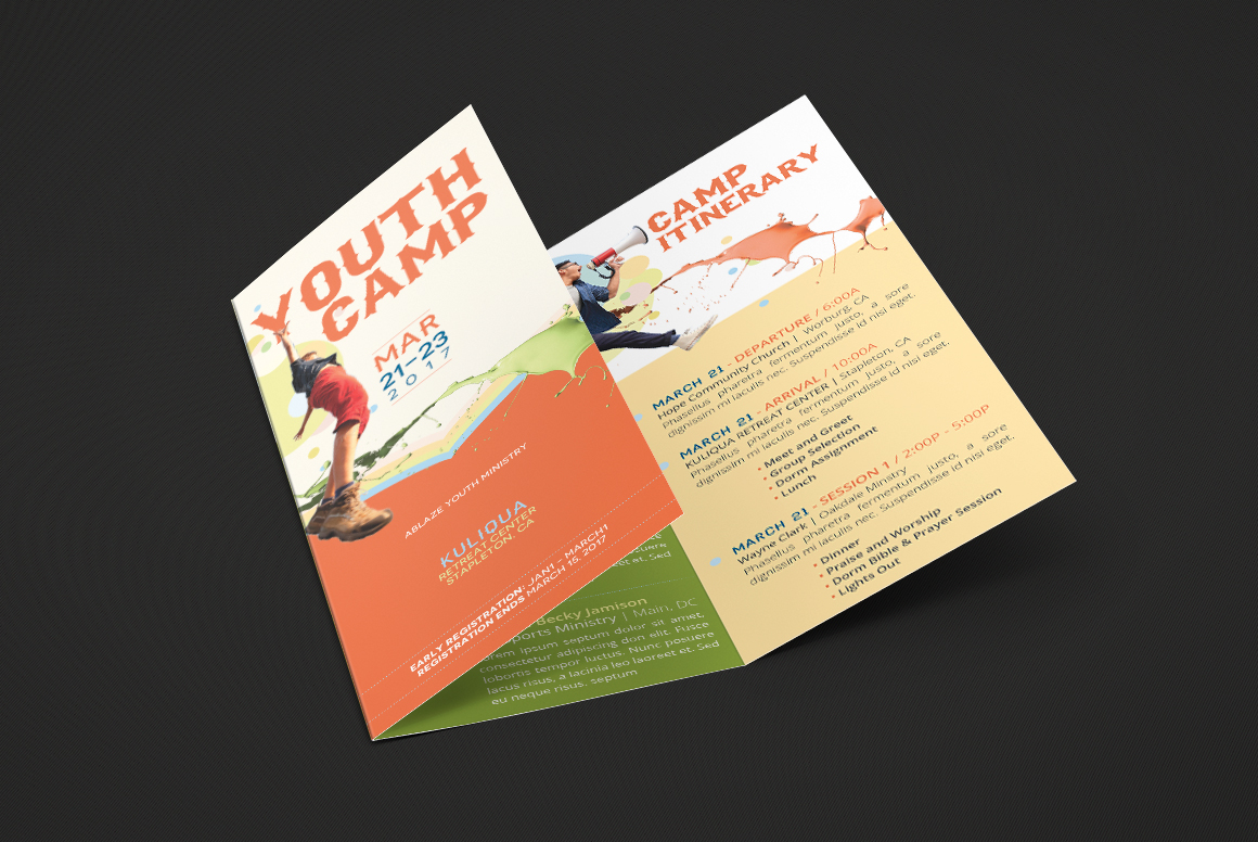 Youth Camp Tri-Fold Brochure Template