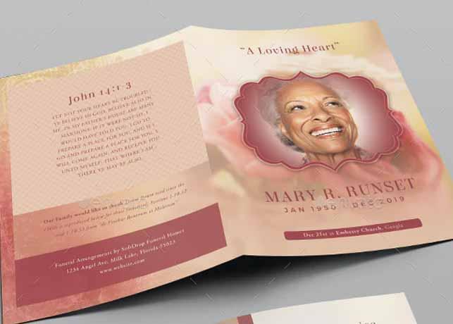 Rose Funeral Program Template
