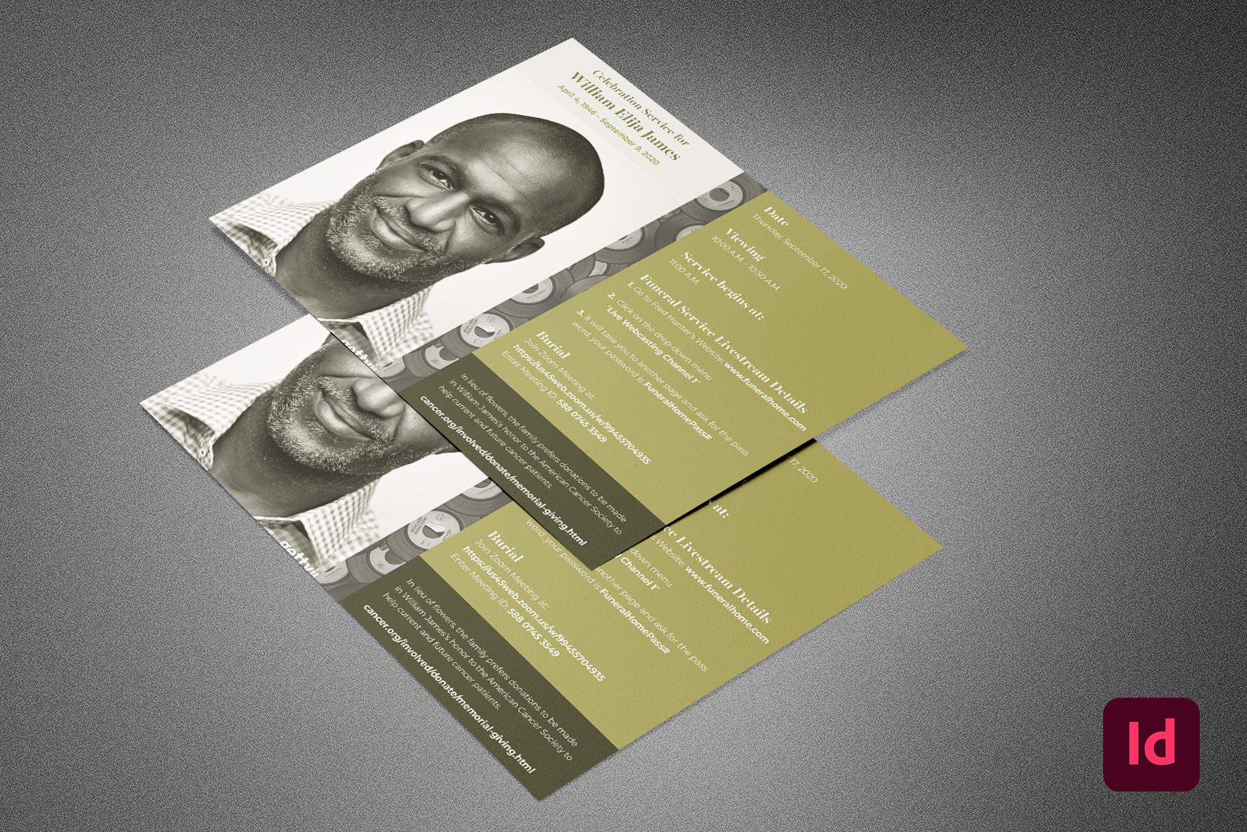Green Vinyl Funeral Info Sheet