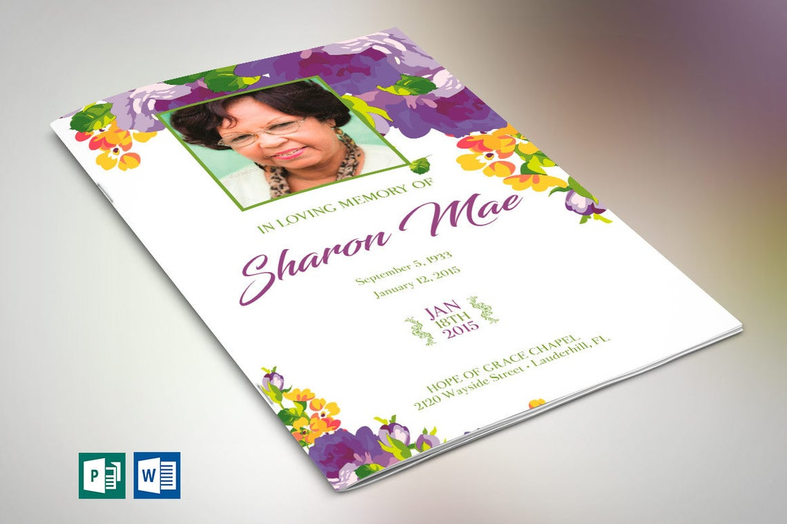 Purple Floral Funeral Program Word Publisher Template