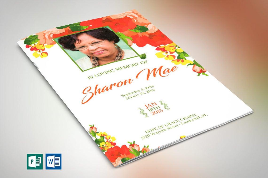 Orange Floral Funeral Program Publisher Template