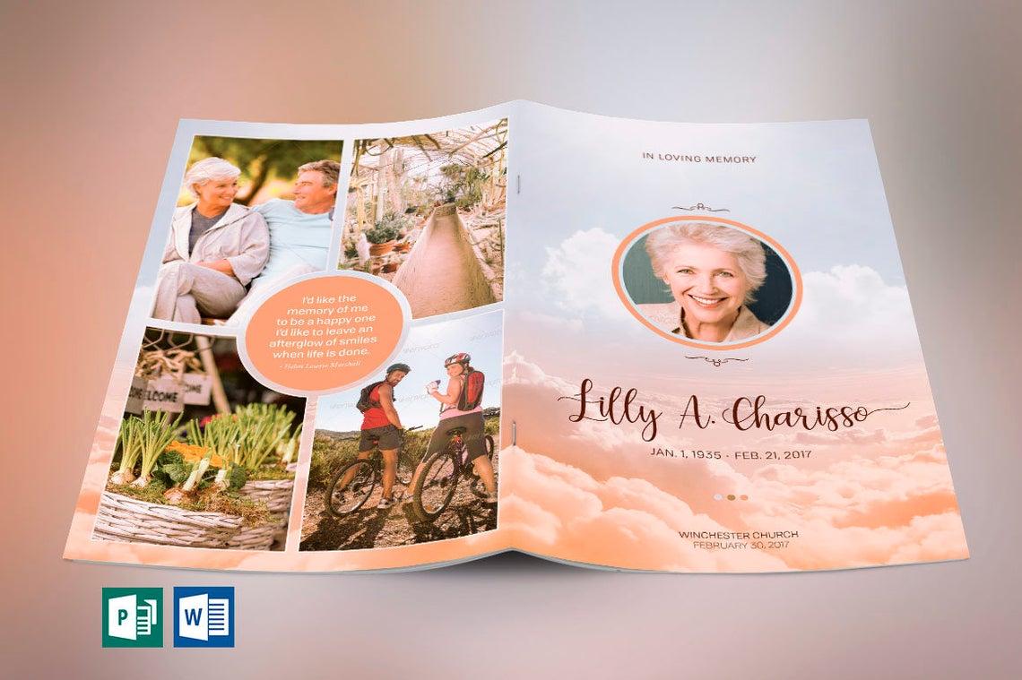 Heaven Funeral Program Publisher Word Template