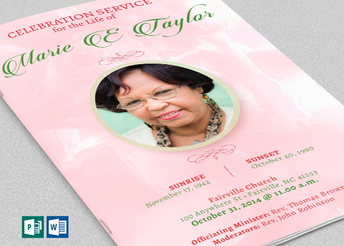 Pink Rose Funeral Program Publisher Word Template 8 Pages