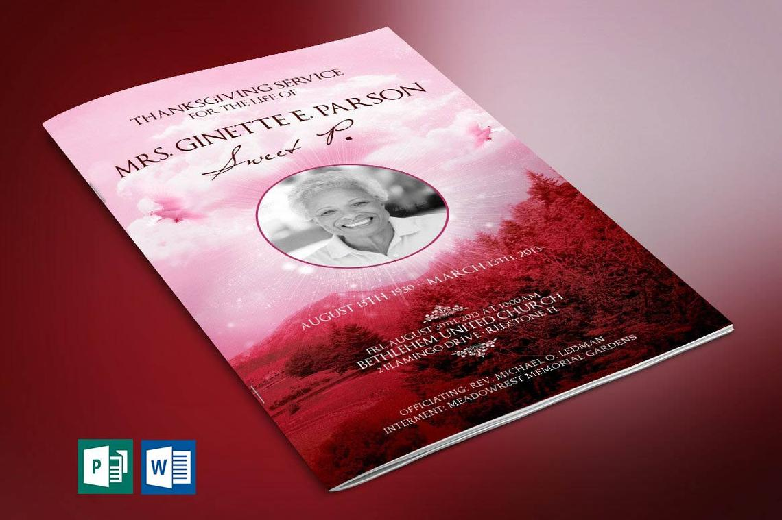 Pink Sky Funeral Program Word Publisher Template