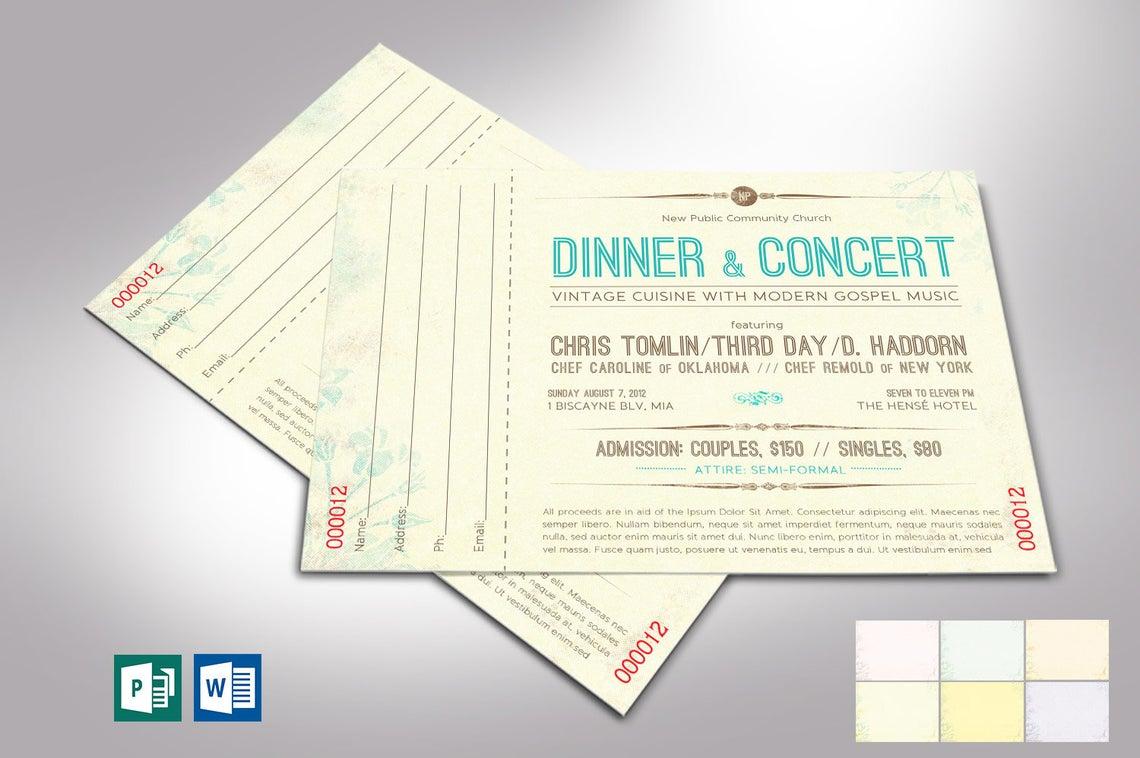 Vintage Dinner Concert Ticket Word Publisher Template