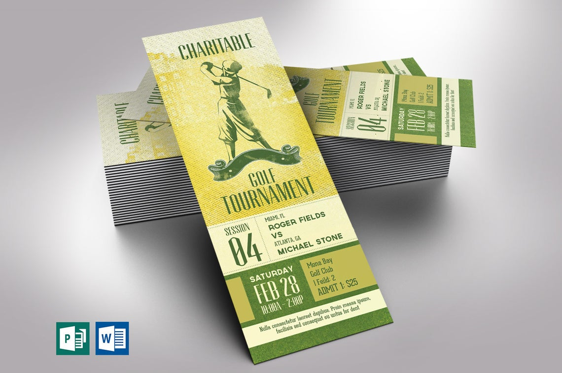Charitable Golf Tournament Ticket Word Publisher Template | Sports