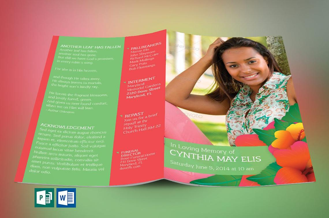 Hibiscus Funeral Program Word Publisher Template