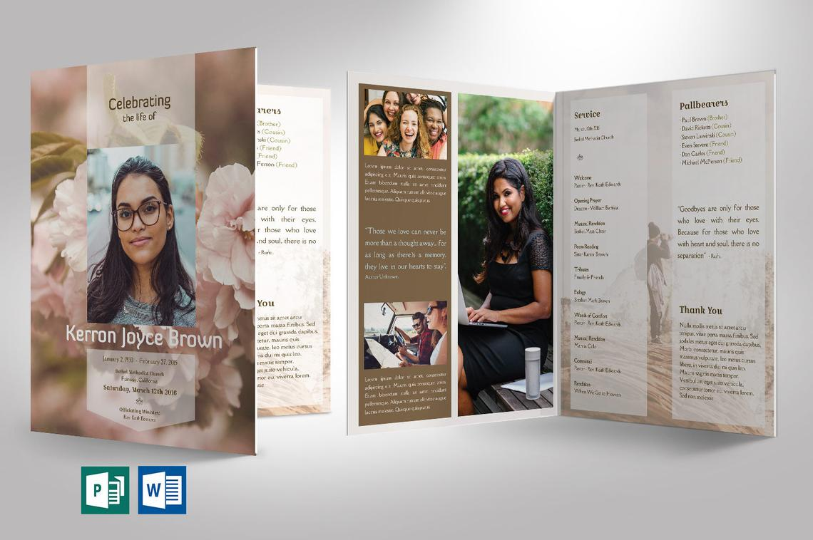 Adventure Funeral Program Large Word Publisher Template