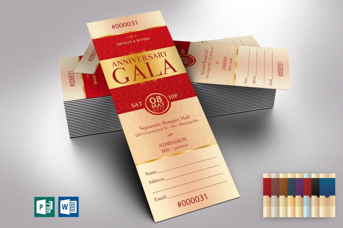Elegant Anniversary Gala Ticket Word Publisher Template