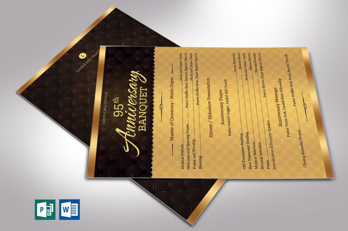 Golden Church Anniversary Program One Sheet Word Publisher Template