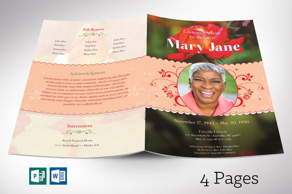 Rose Funeral Program Word Publisher Template 4 Pages