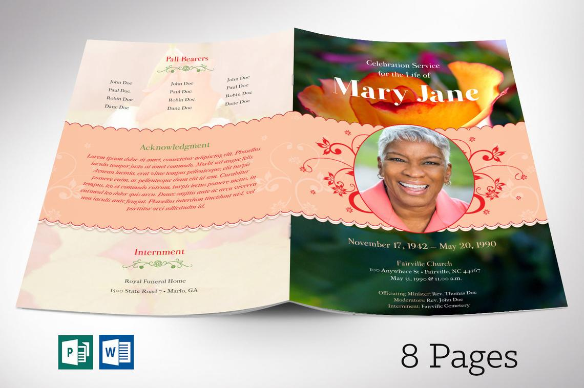 Rose Funeral Program Word Publisher Template 8 Pages