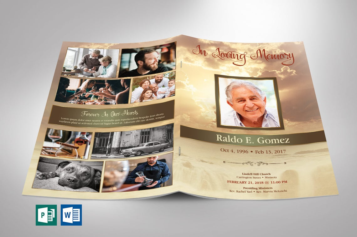 Gold Forever Funeral Program Word Publisher Template