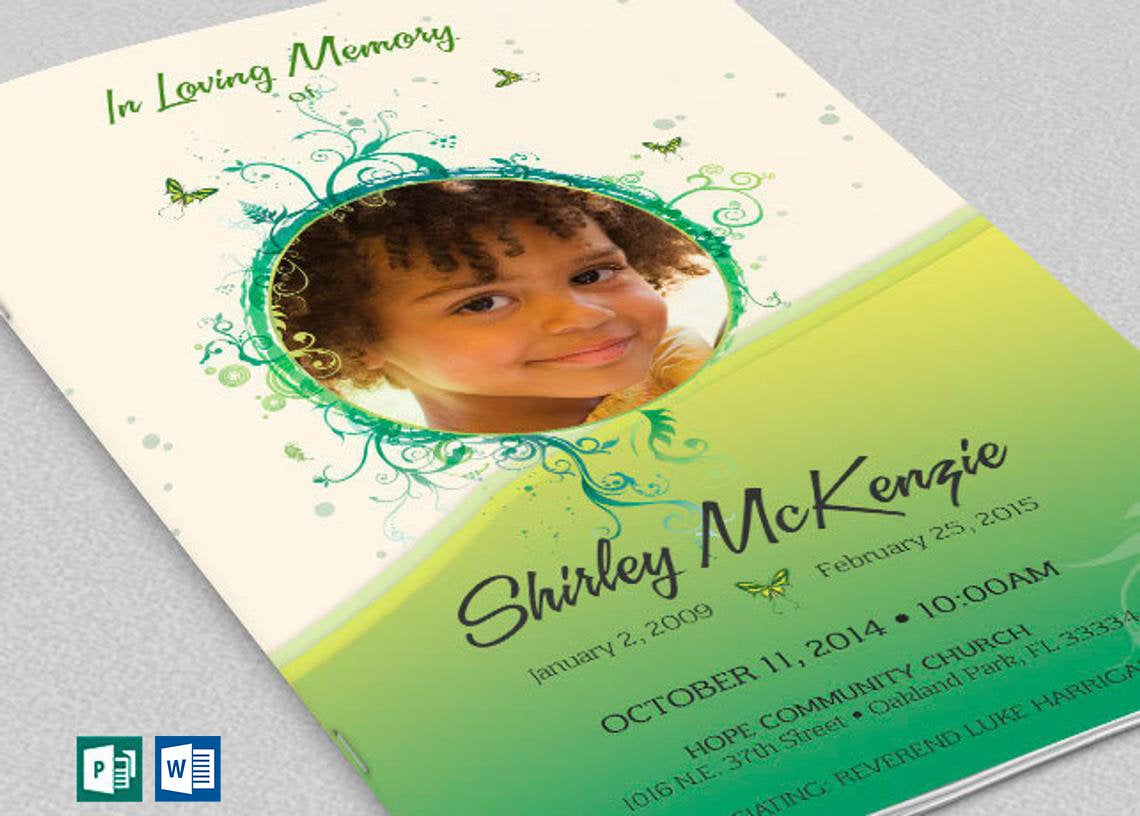 """Green Princess Funeral Program Word Publisher Template 