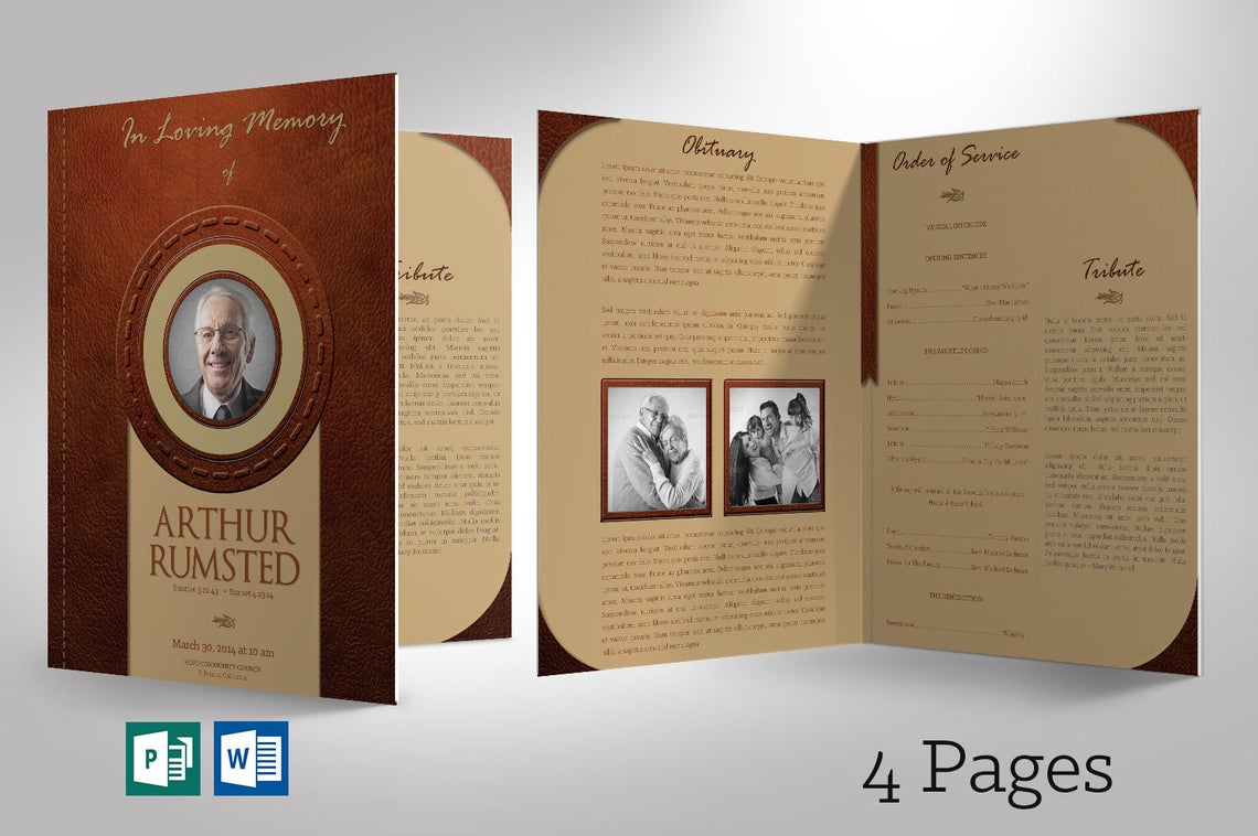 Leather Funeral Program Word Publisher Template