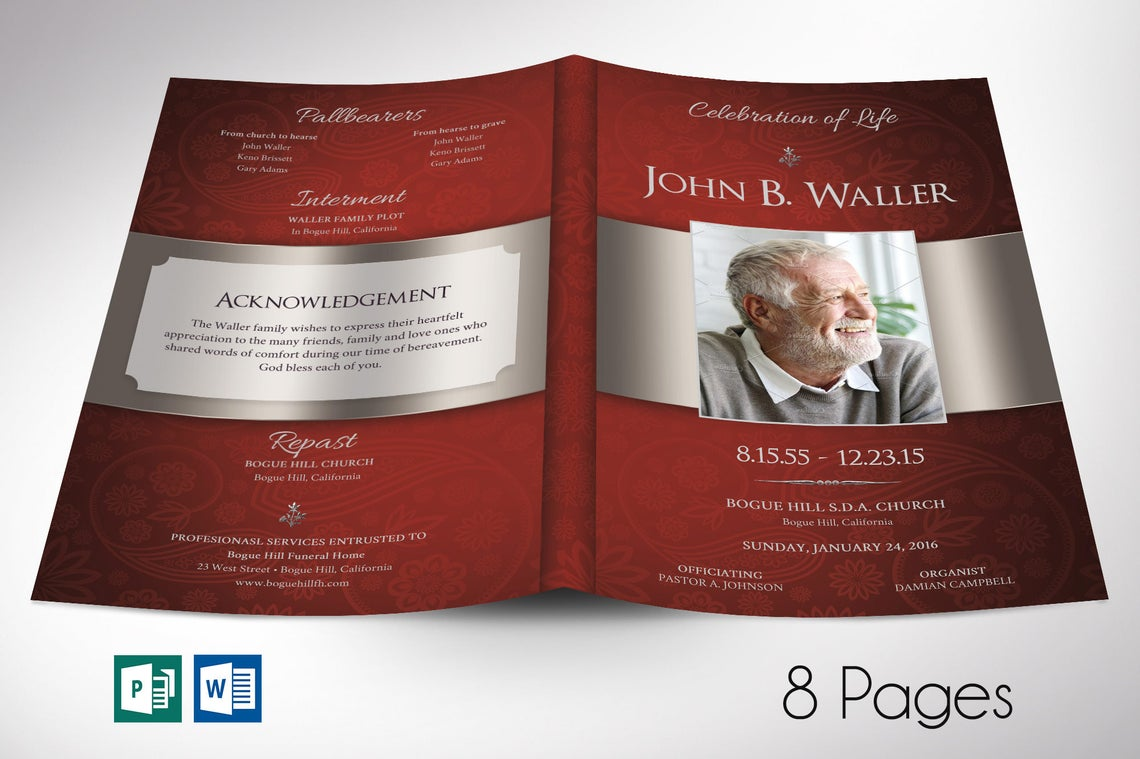 Burgundy Silver Funeral Program Word Publisher Template