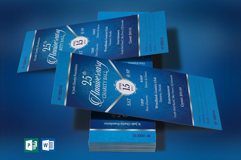 Blue Silver Anniversary Gala Flyer Word Publisher Template