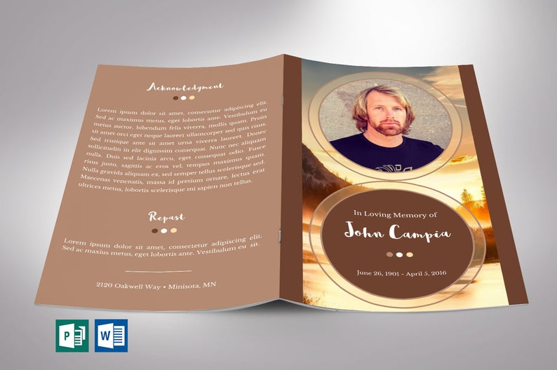 Sunset Funeral Program Template | Word Publisher