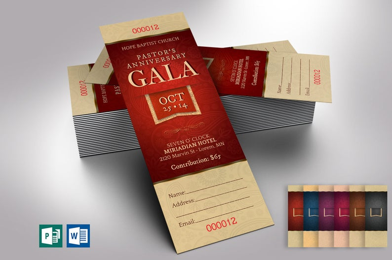 Pastor Appreciation Gala Ticket Word Publisher Template