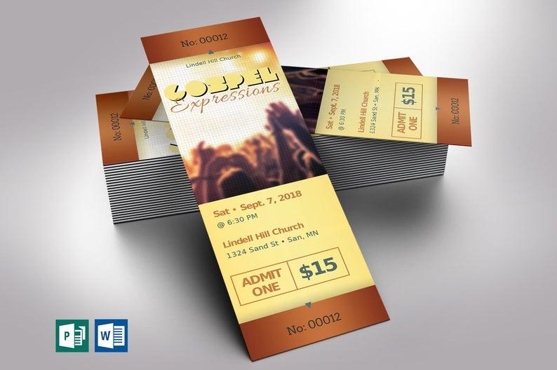 Gospel Concert Ticket Word Publisher Template