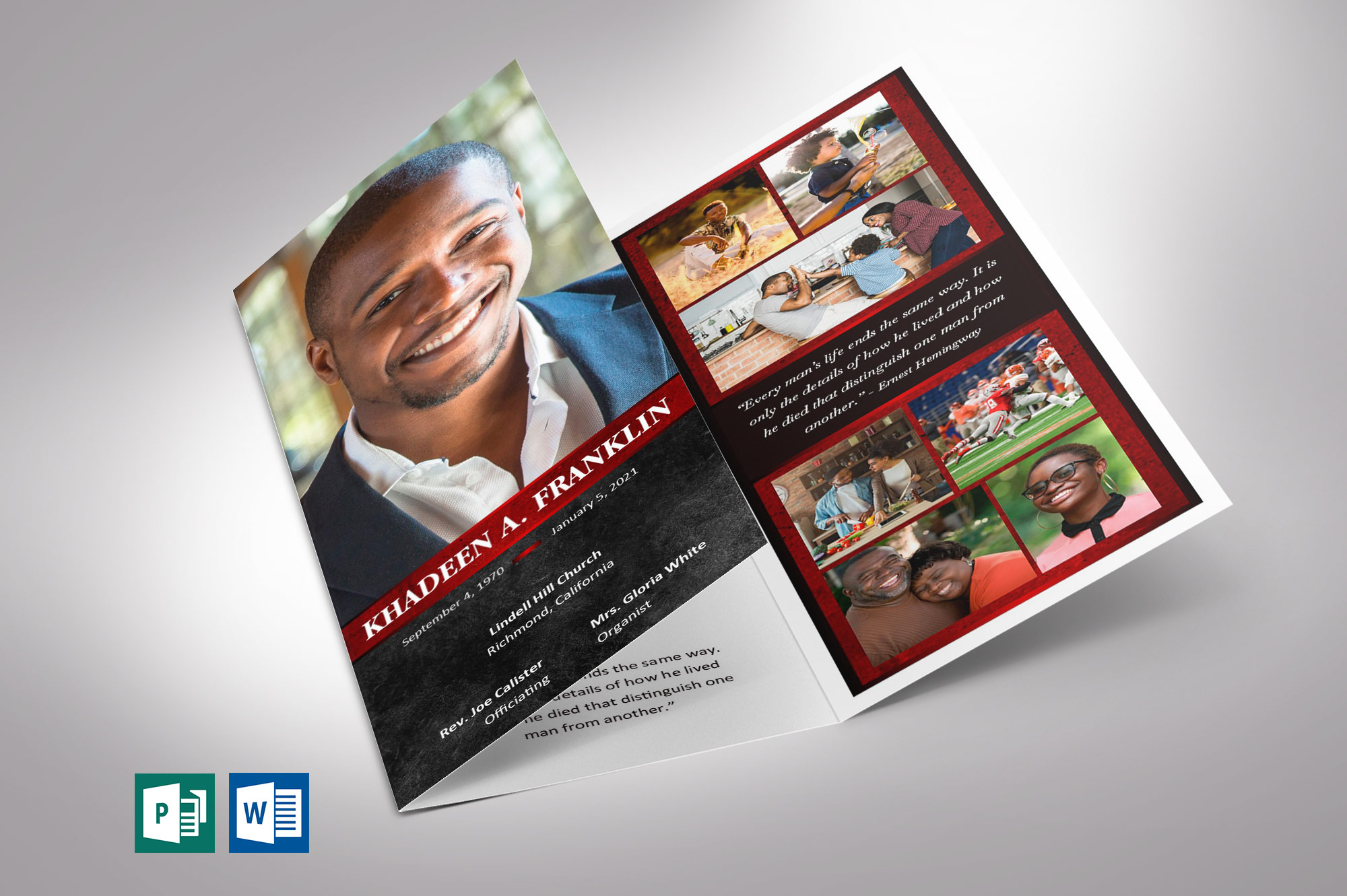 Red Rock Trifold Funeral Program Word Publisher Template