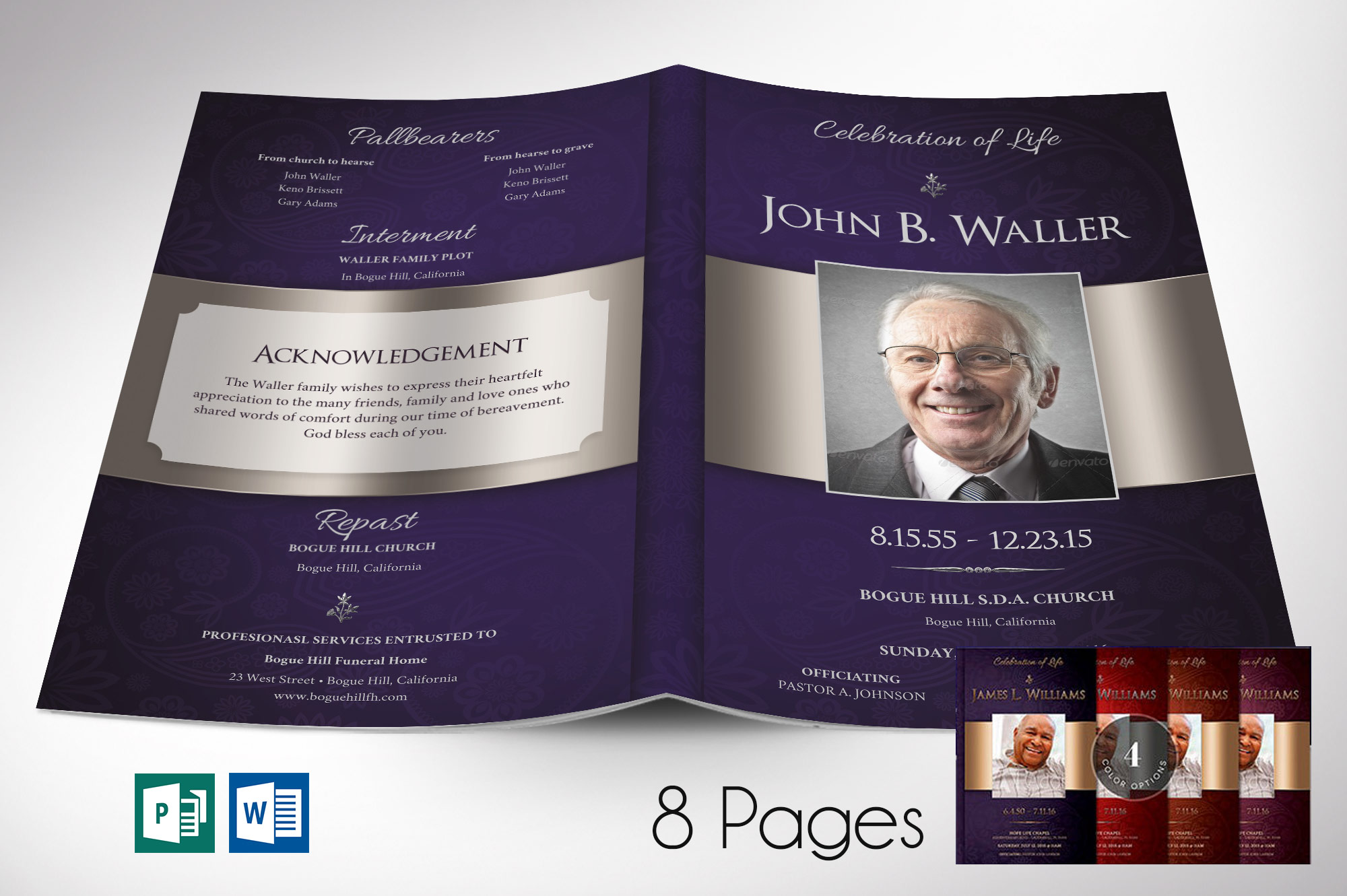Dignity Funeral Program Word Publisher Template - Bundle