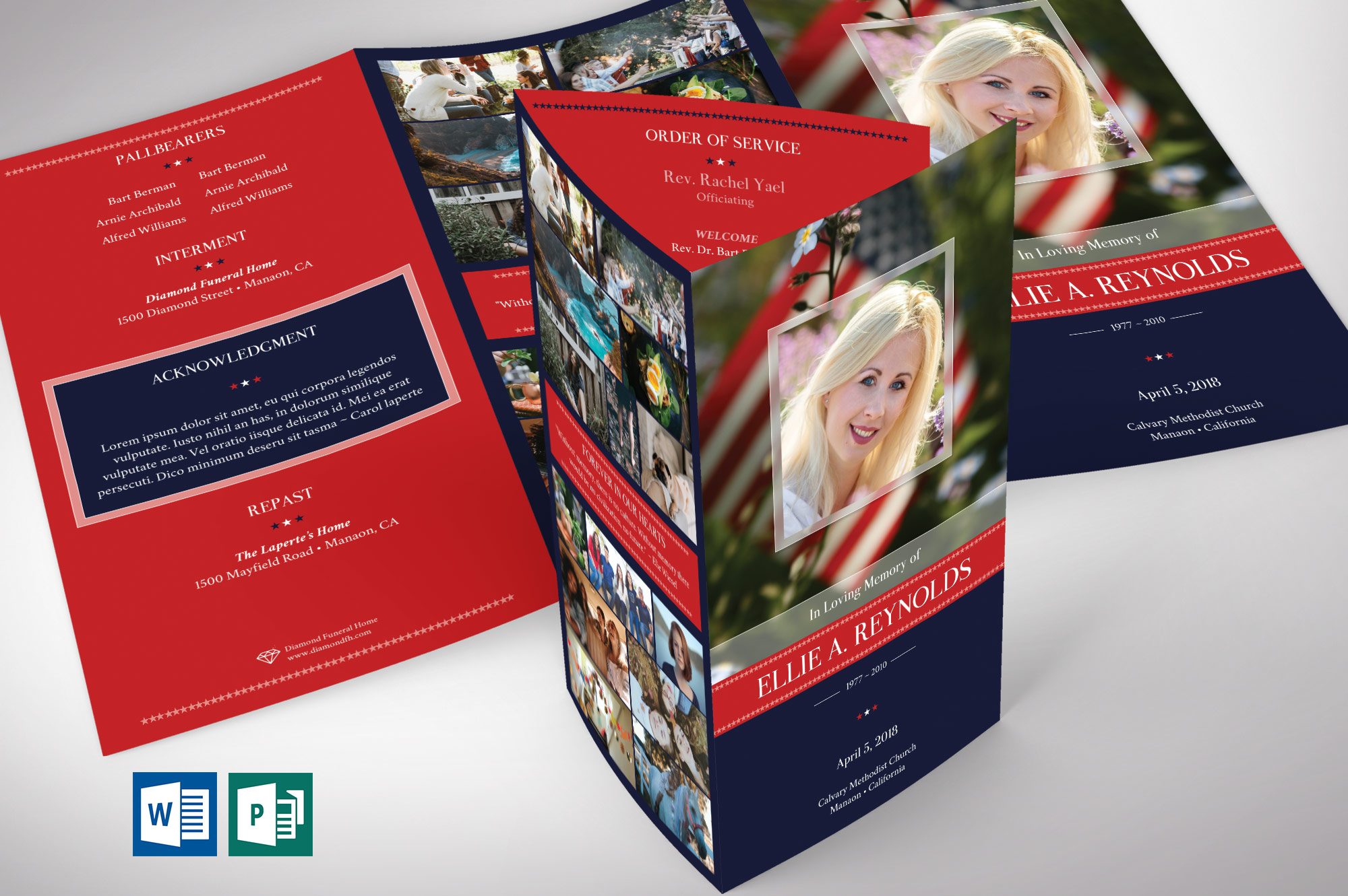 American Military Legal Trifold Funeral Program Word Publisher Template - V2