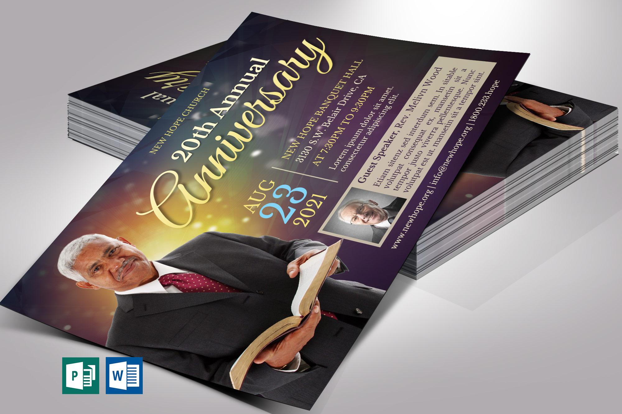 Starlight Pastor Anniversary Flyer Word Publisher Template